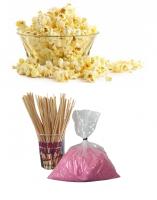 Popcorn pakket 50 porties + Suikerspin pakket 50 stuks (incl. zakjes en stokjes)