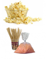 Popcorn pakket 100 porties + Suikerspin pakket oranje suikerspinsuiker 100 stuks (incl. zakjes en stokjes)