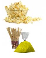 Popcorn pakket 100 porties + Suikerspin pakket gele suikerspinsuiker 100 stuks (incl. zakjes en stokjes)