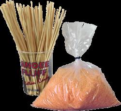 Suikerspin pakket met oranje suikerspinsuiker (incl. stokjes)