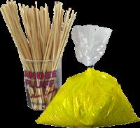 Suikerspin pakket met gele suikerspinsuiker (incl. stokjes)
